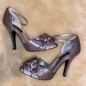 NINA - silver metallic satin, ankle strap pump